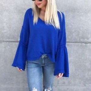 Free People Dahlia Bell Sleeve Thermal Top Blue